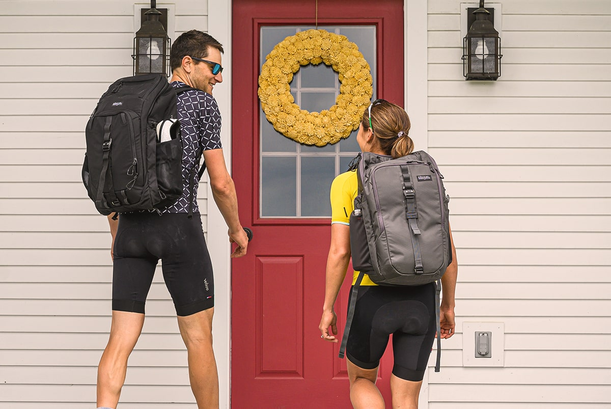 Ted and Laura King wearing the transition pack