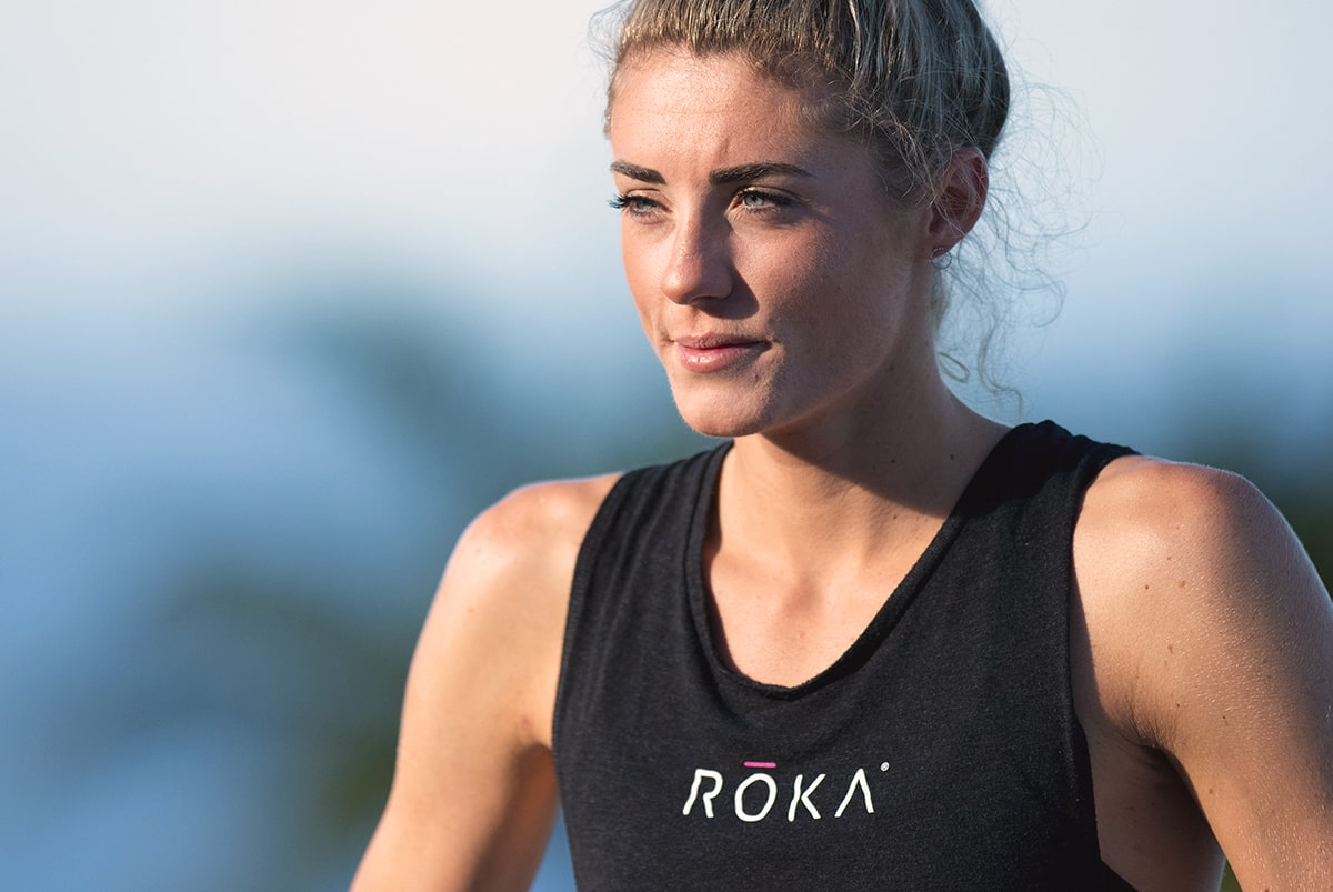 Lucy Charles-Barclay wearing a sleeveless ROKA Branded Tee