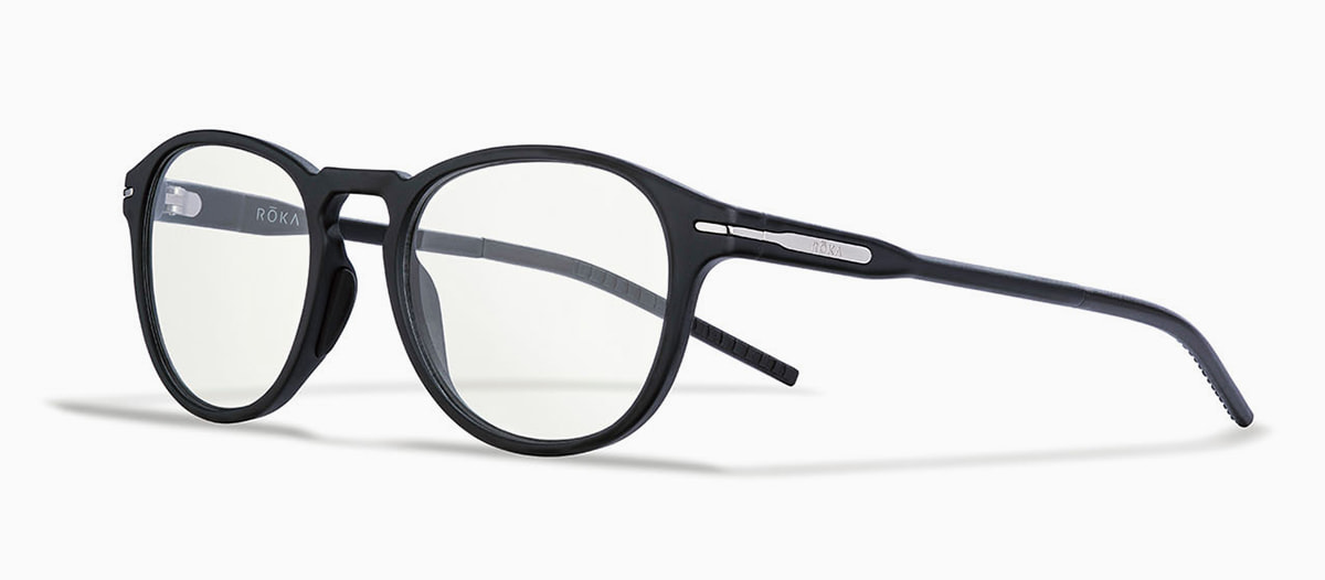 Oslo black frame blue light coating prescription eyewear.