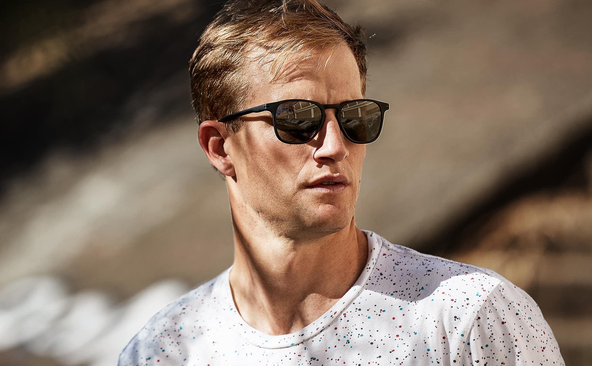 BMX cyclist Chris Tolley wearing Hunter matte black prescription sunglasses.