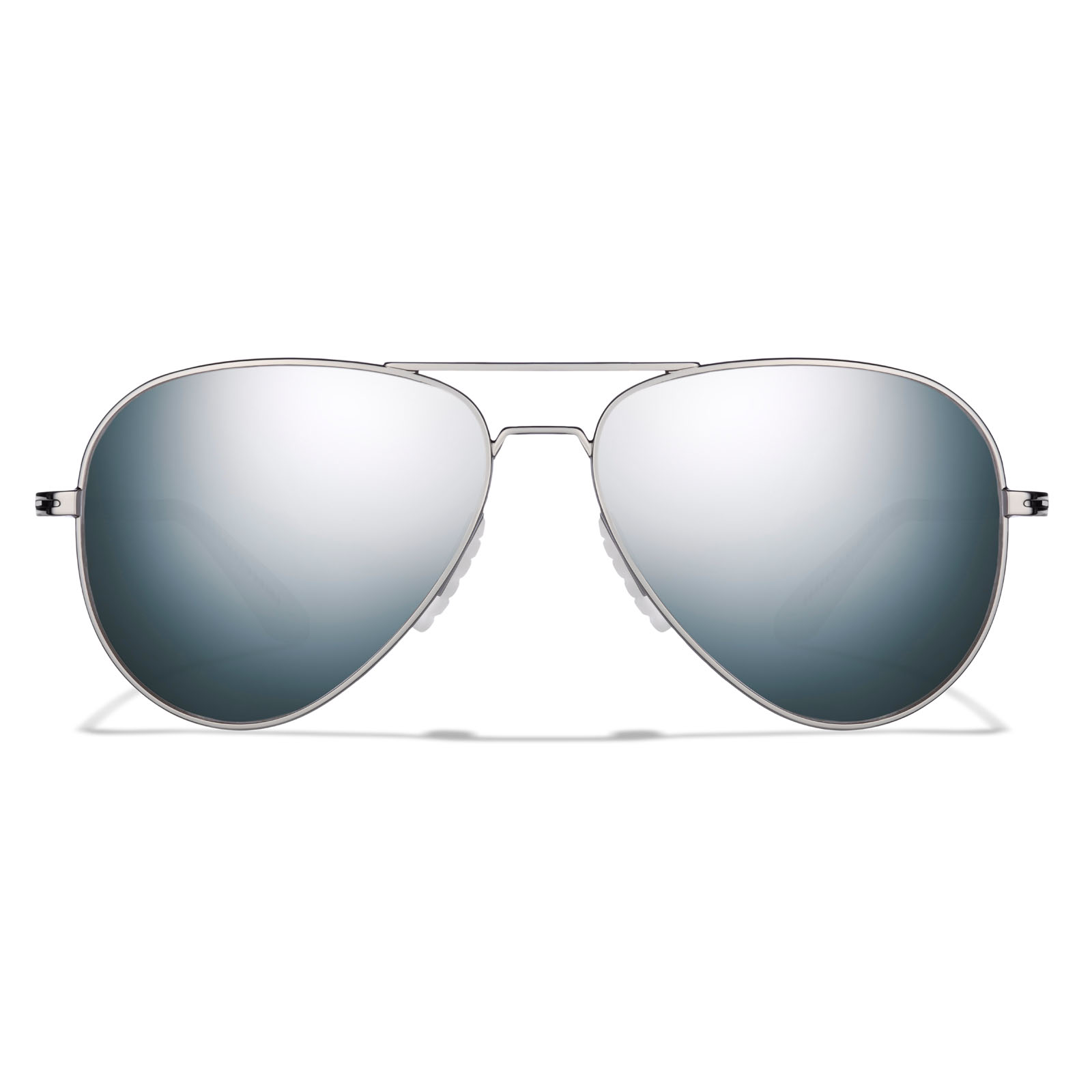 Straight on view of phanton silver frame, dark arctic mirror lens