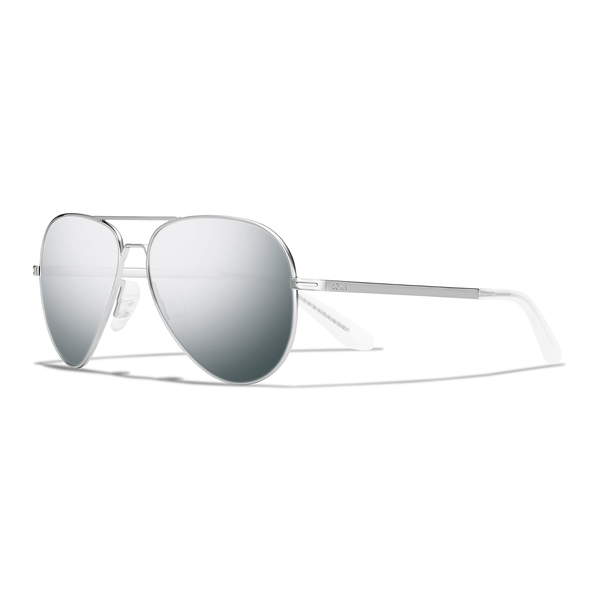 Side view of phanton silver frame, dark arctic mirror lens